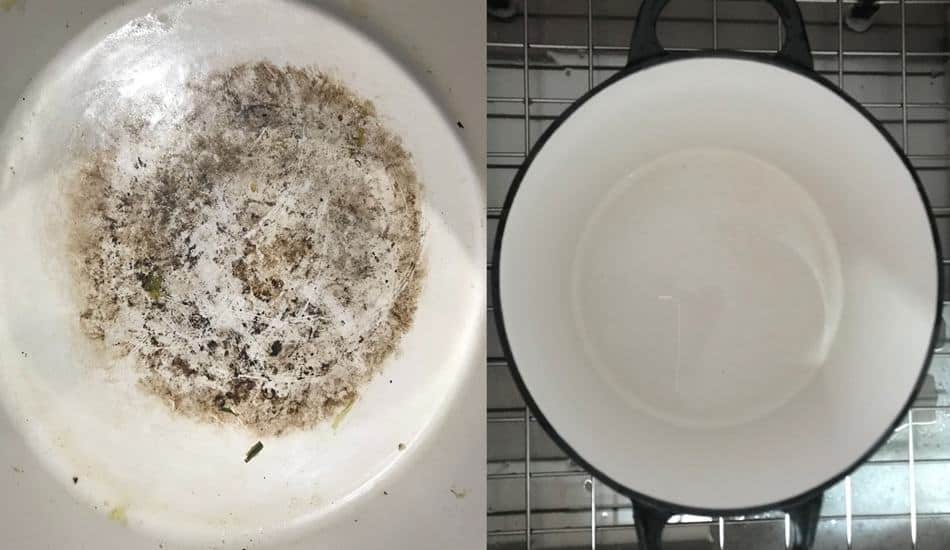 How to Clean an Enamel Dutch Oven before and after images