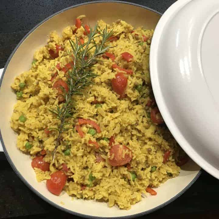 Dutch Oven Zesty Lentil Rice (Vegan) Recipe Card