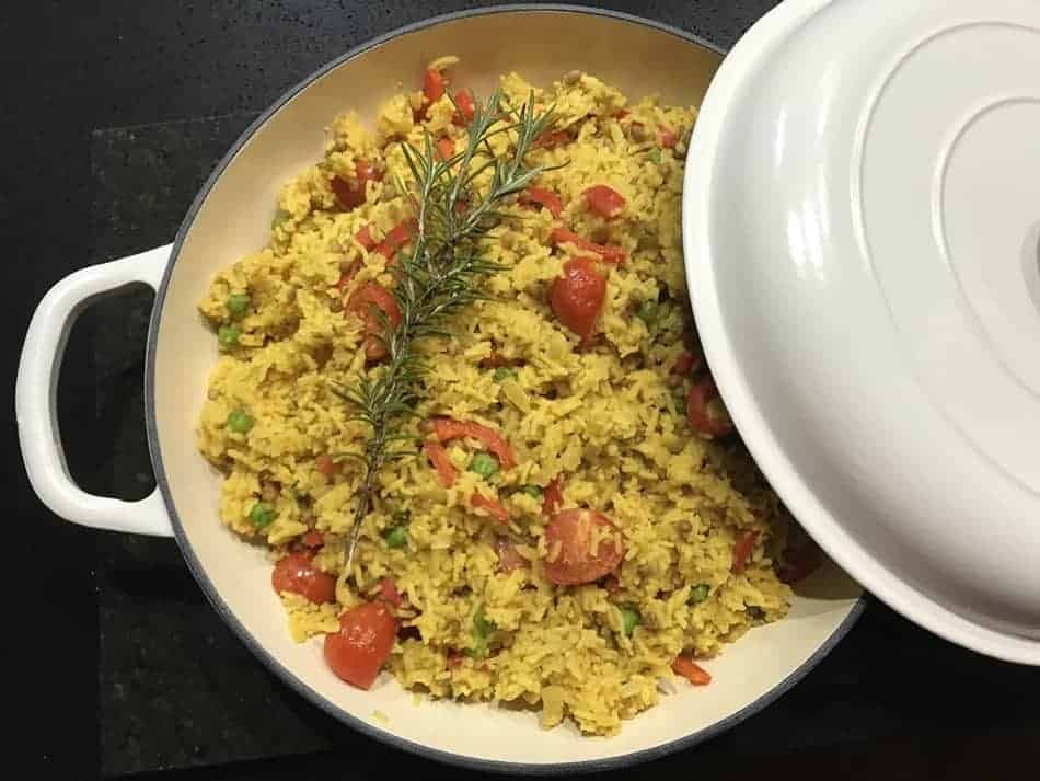Dutch Oven Zesty Lentil Rice (Vegan)