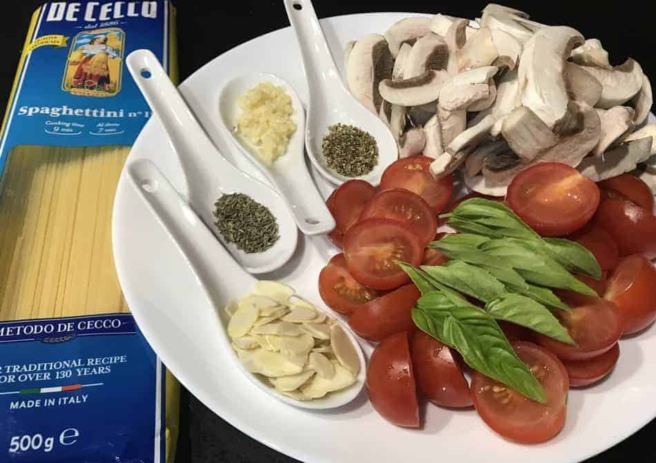 mushroom cherry tomato pasta ingredients image