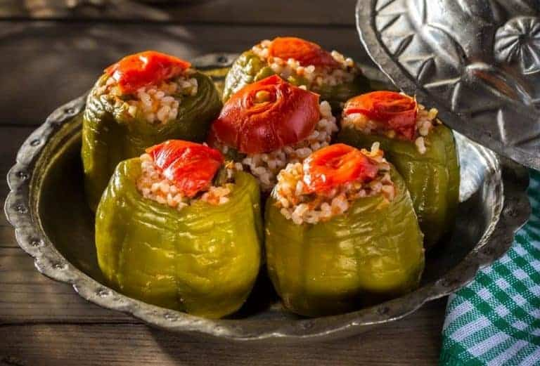 Spicy Rice Stuffed Bell Peppers (Vegan)