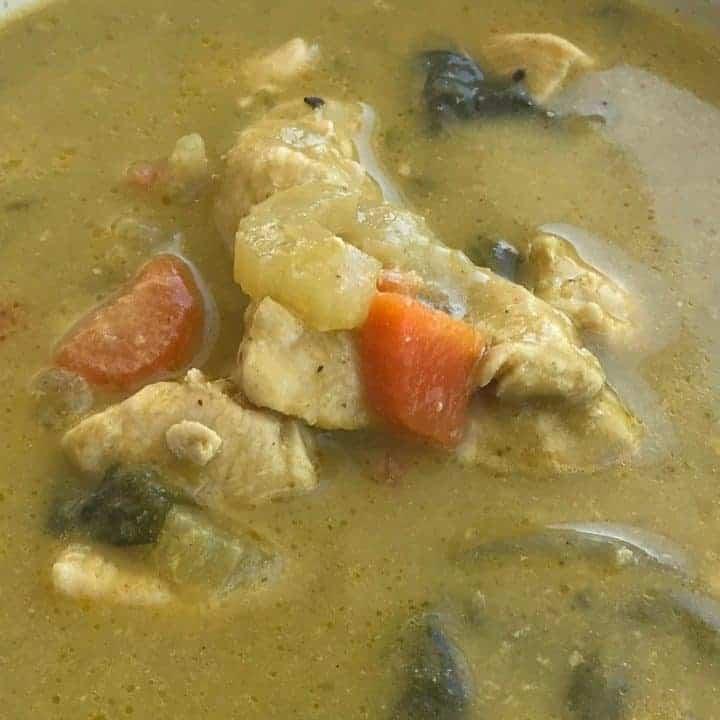 Dutch oven chicken detox soup recipe card image